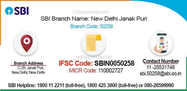IFSC Code for SBI New Delhi Janak Puri Branch