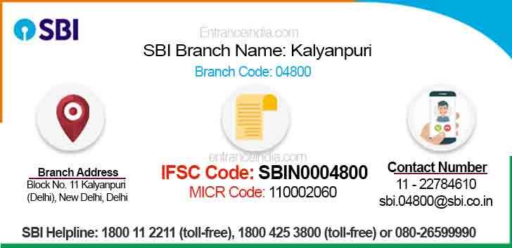 IFSC Code for SBI Kalyanpuri Branch