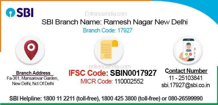 IFSC Code for SBI Ramesh Nagar New Delhi Branch