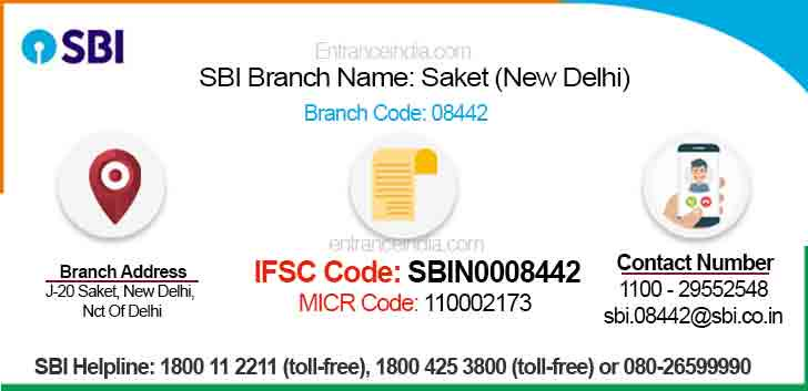 IFSC Code for SBI Saket (New Delhi) Branch