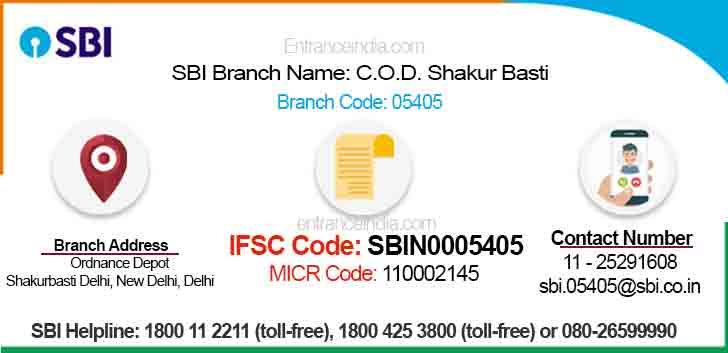 IFSC Code for SBI C.O.D. Shakur Basti Branch