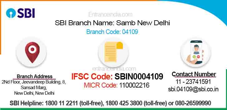 IFSC Code for SBI Samb New Delhi Branch