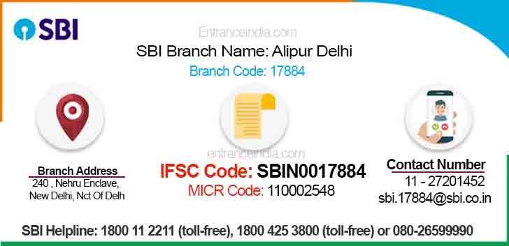 IFSC Code for SBI Alipur Delhi Branch