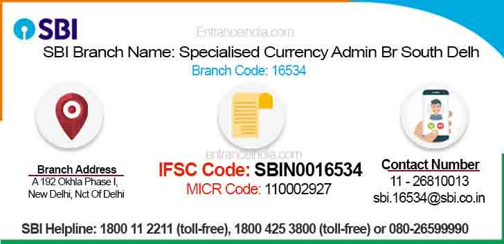 IFSC Code for SBI Specialised Currency Admin Br South Delh Branch