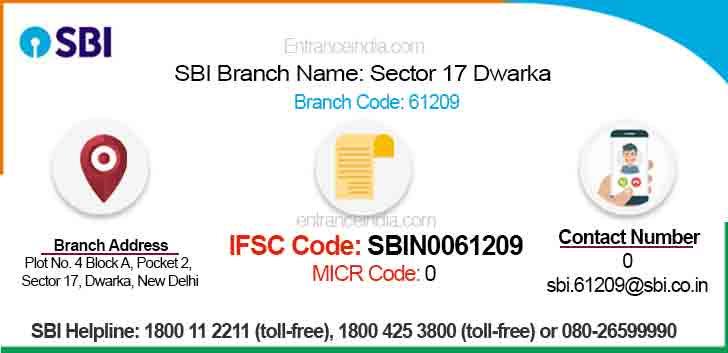 IFSC Code for SBI Sector 17 Dwarka Branch