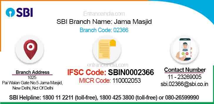 IFSC Code for SBI Jama Masjid Branch