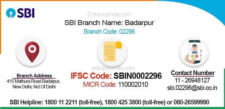 IFSC Code for SBI Badarpur Branch