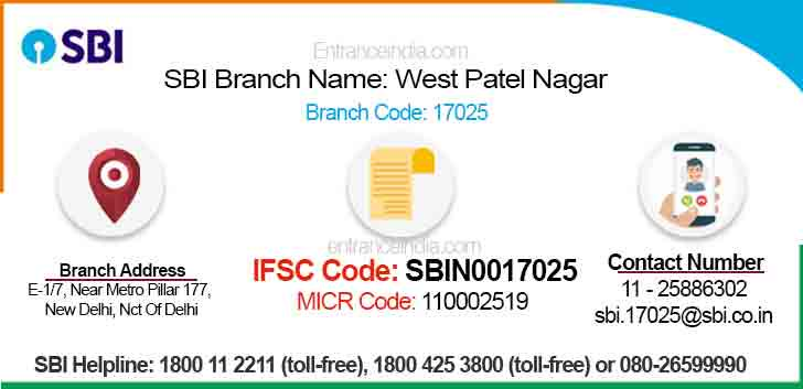 IFSC Code for SBI West Patel Nagar Branch