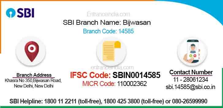 IFSC Code for SBI Bijwasan Branch