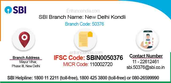IFSC Code for SBI New Delhi Kondli Branch