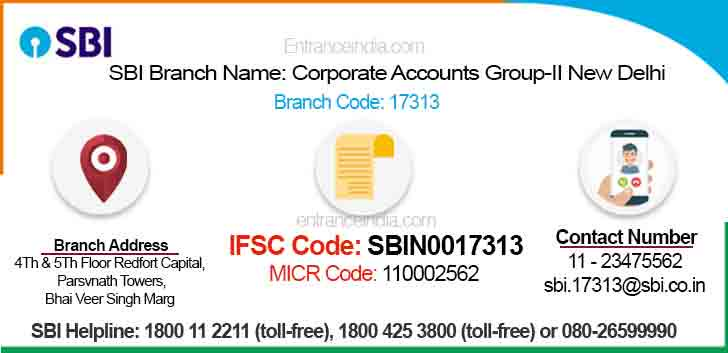IFSC Code for SBI Corporate Accounts Group-II New Delhi Branch
