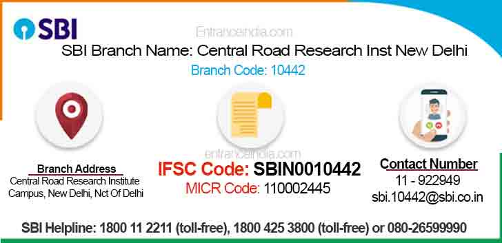 IFSC Code for SBI Central Road Research Inst New Delhi Branch