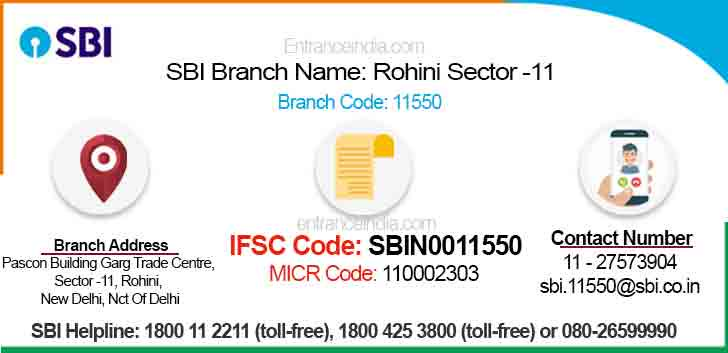 IFSC Code for SBI Rohini Sector -11 Branch