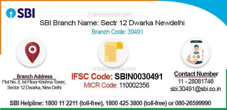 IFSC Code for SBI Sectr 12 Dwarka Newdelhi Branch