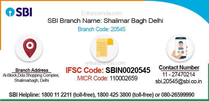 IFSC Code for SBI Shalimar Bagh Delhi Branch