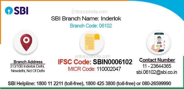IFSC Code for SBI Inderlok Branch