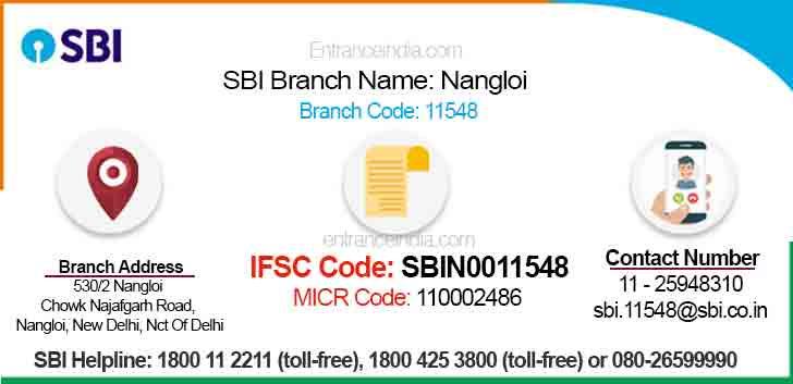 IFSC Code for SBI Nangloi Branch