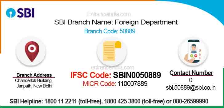 IFSC Code for SBI Foreign Department Branch