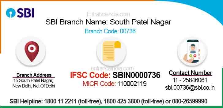 IFSC Code for SBI South Patel Nagar Branch