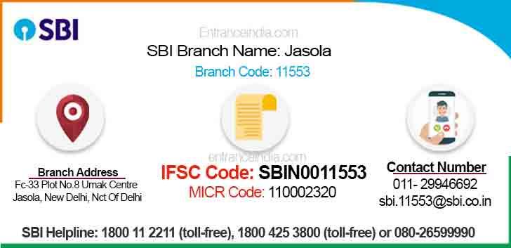 IFSC Code for SBI Jasola Branch