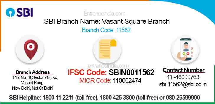 IFSC Code for SBI Vasant Square Branch Branch