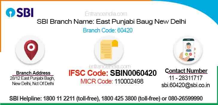 IFSC Code for SBI East Punjabi Baug New Delhi Branch