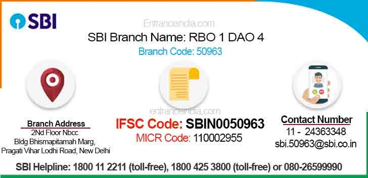 IFSC Code for SBI RBO 1 DAO 4 Branch