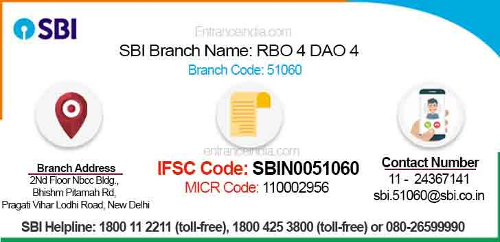 IFSC Code for SBI RBO 4 DAO 4 Branch