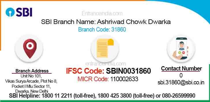 IFSC Code for SBI Ashriwad Chowk Dwarka Branch