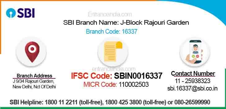 IFSC Code for SBI J-Block Rajouri Garden Branch