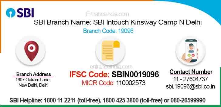 IFSC Code for SBI SBI Intouch Kinsway Camp N Delhi Branch