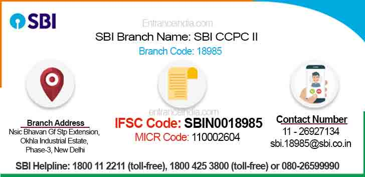 IFSC Code for SBI SBI CCPC II Branch