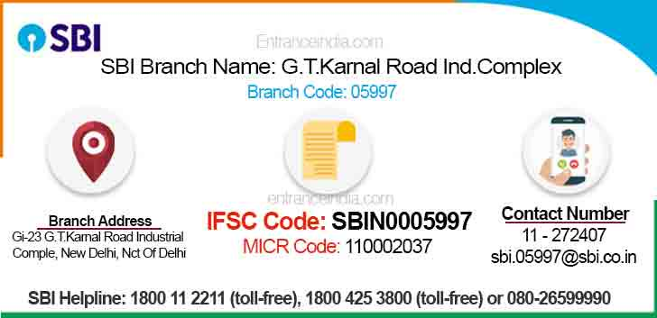 IFSC Code for SBI G.T.Karnal Road Ind.Complex Branch