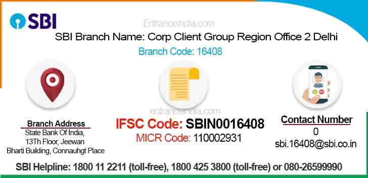 IFSC Code for SBI Corp Client Group Region Office 2 Delhi Branch