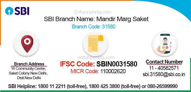 IFSC Code for SBI Mandir Marg Saket Branch