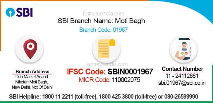 IFSC Code for SBI Moti Bagh Branch