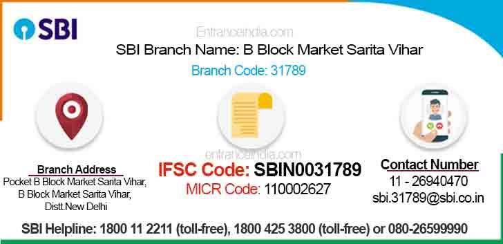 IFSC Code for SBI B Block Market Sarita Vihar Branch