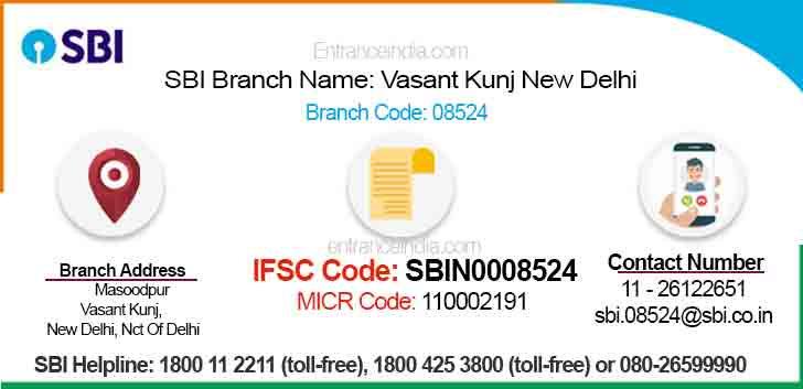 IFSC Code for SBI Vasant Kunj New Delhi Branch