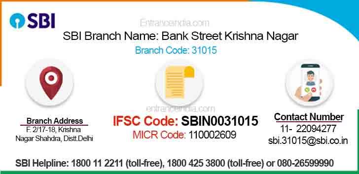 IFSC Code for SBI Bank Street Krishna Nagar Branch