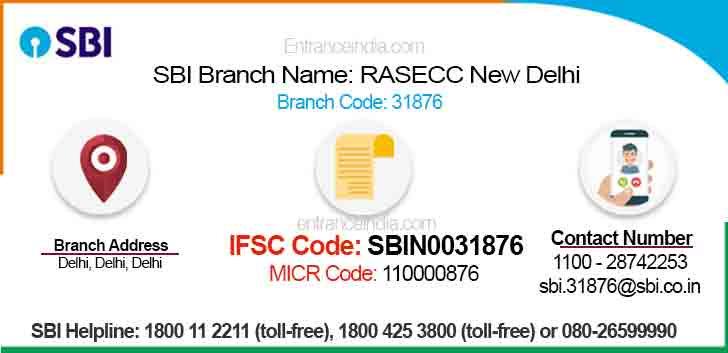 IFSC Code for SBI RASECC New Delhi Branch