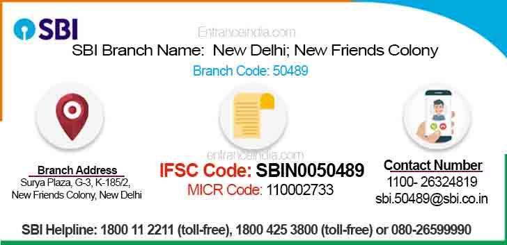 IFSC Code for SBI New Delhi; New Friends Colony Branch