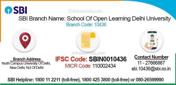 IFSC Code for SBI School Of Open Learning Delhi University Branch