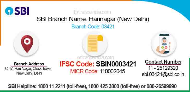 IFSC Code for SBI Harinagar (New Delhi) Branch