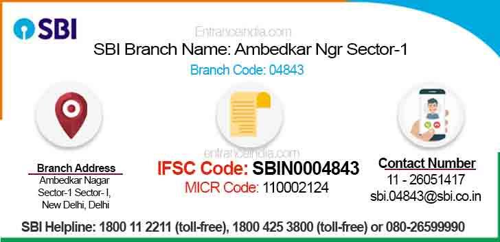 IFSC Code for SBI Ambedkar Ngr Sector-1 Branch