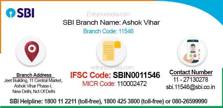 IFSC Code for SBI Ashok Vihar Branch