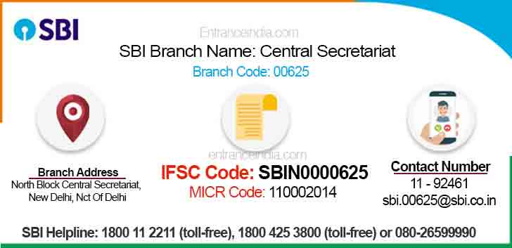 IFSC Code for SBI Central Secretariat Branch