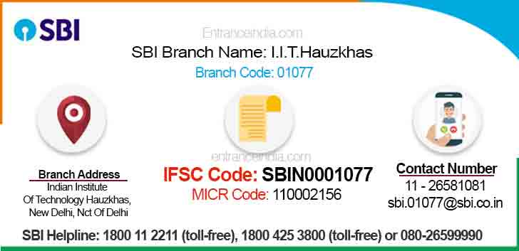 IFSC Code for SBI I.I.T.Hauzkhas Branch