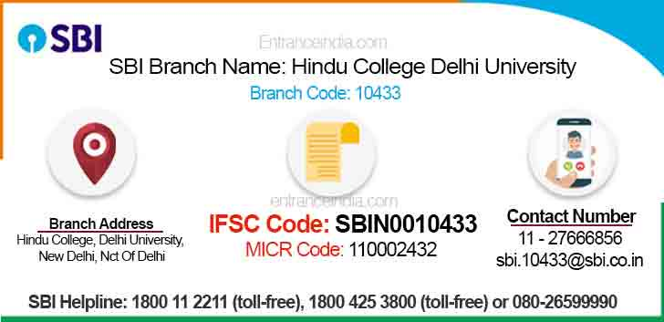 IFSC Code for SBI Hindu College Delhi University Branch