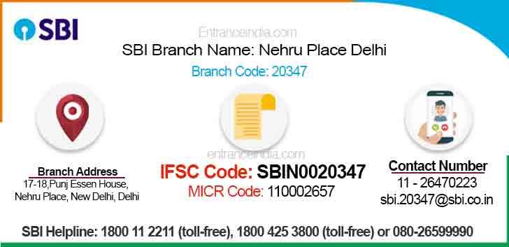 IFSC Code for SBI Nehru Place Delhi Branch