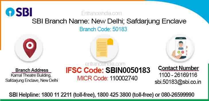 IFSC Code for SBI New Delhi; Safdarjung Enclave Branch